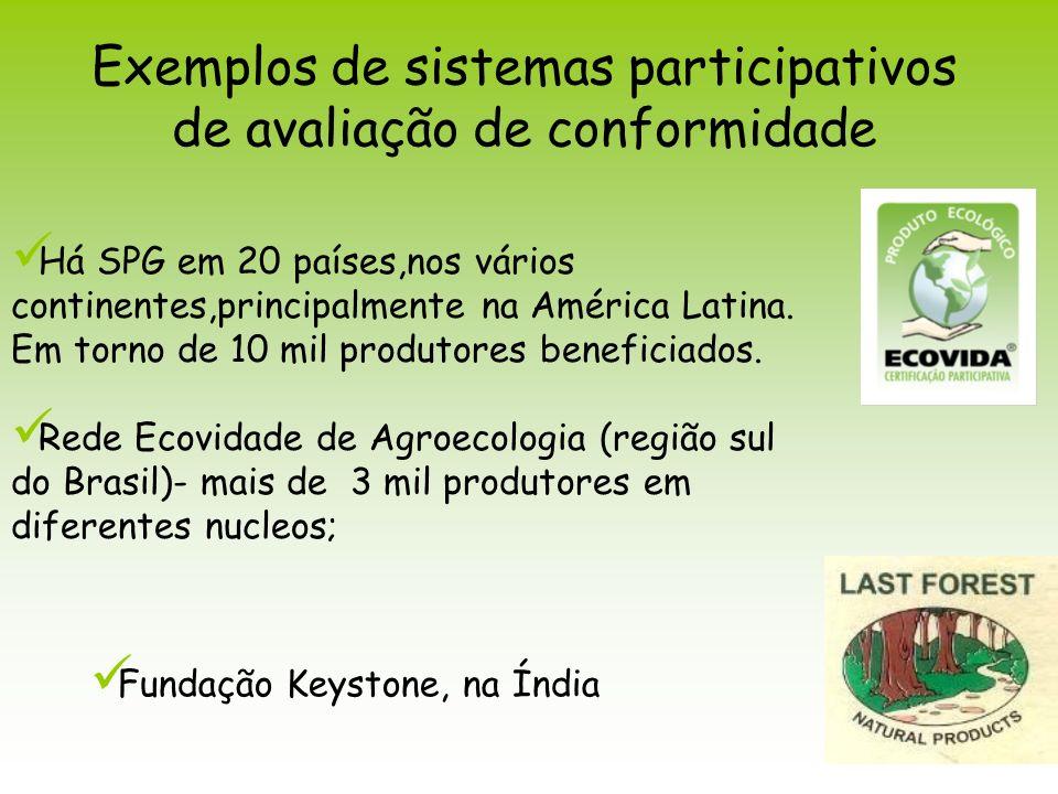 Exemplos de sistemas participativos de avaliação de conformidade Fundação Keystone, na Índia Há SPG em 20 países,nos vários continentes,principalmente