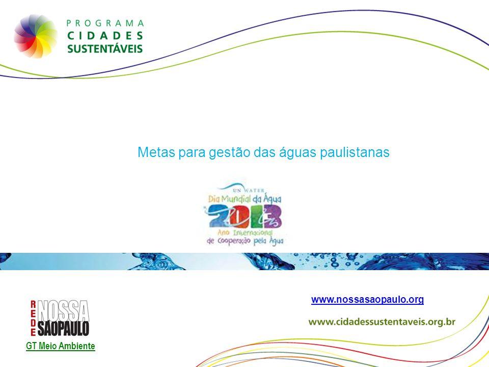Metas para gestão das águas paulistanas www.nossasaopaulo.org GT Meio Ambiente