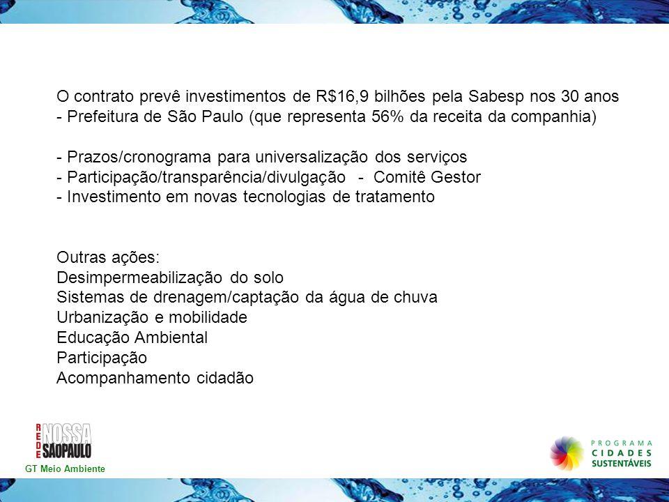 GT Meio Ambiente O contrato prevê investimentos de R$16,9 bilhões pela Sabesp nos 30 anos - Prefeitura de São Paulo (que representa 56% da receita da