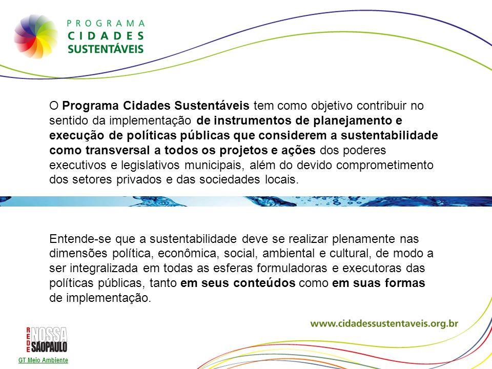 GT Meio Ambiente O contrato prevê investimentos de R$16,9 bilhões pela Sabesp nos 30 anos - Prefeitura de São Paulo (que representa 56% da receita da companhia) - Prazos/cronograma para universalização dos serviços - Participação/transparência/divulgação - Comitê Gestor - Investimento em novas tecnologias de tratamento Outras ações: Desimpermeabilização do solo Sistemas de drenagem/captação da água de chuva Urbanização e mobilidade Educação Ambiental Participação Acompanhamento cidadão