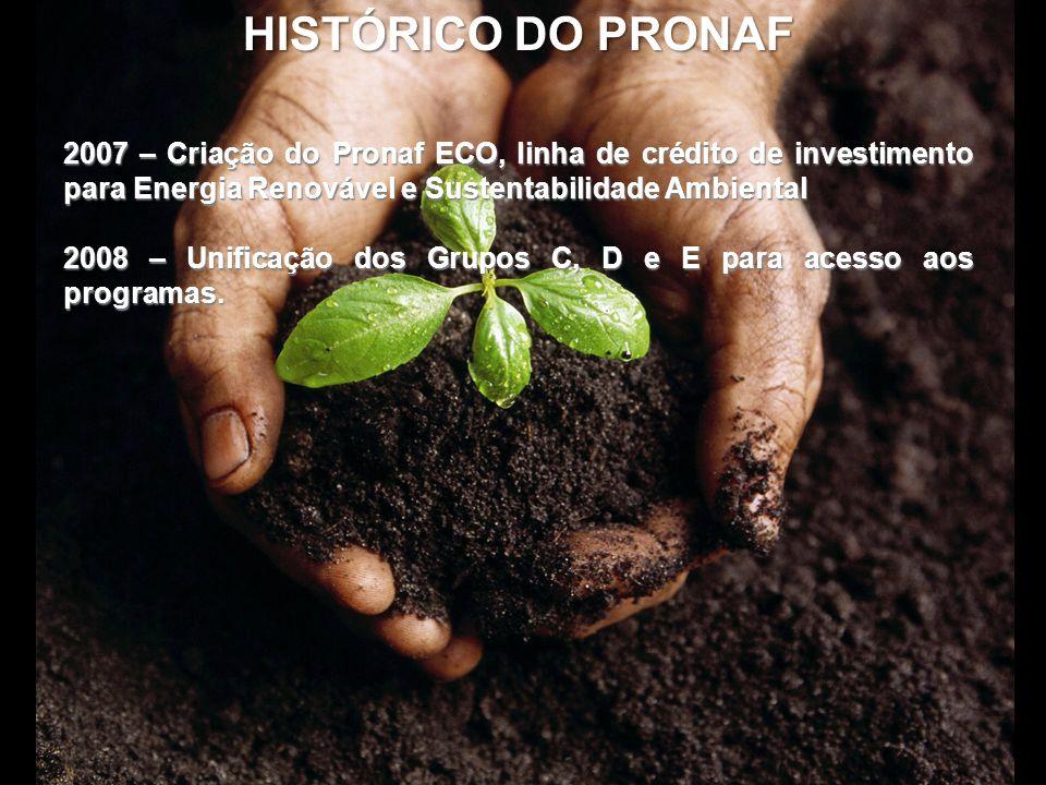HISTÓRICO DO PRONAF 2007 – Criação do Pronaf ECO, linha de crédito de investimento para Energia Renovável e Sustentabilidade Ambiental 2008 – Unificaç