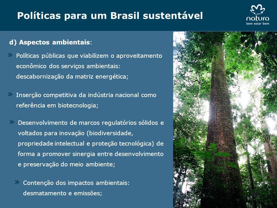 Políticas para um Brasil sustentável d) Aspectos ambientais: » Inserção competitiva da indústria nacional como referência em biotecnologia; » Contençã