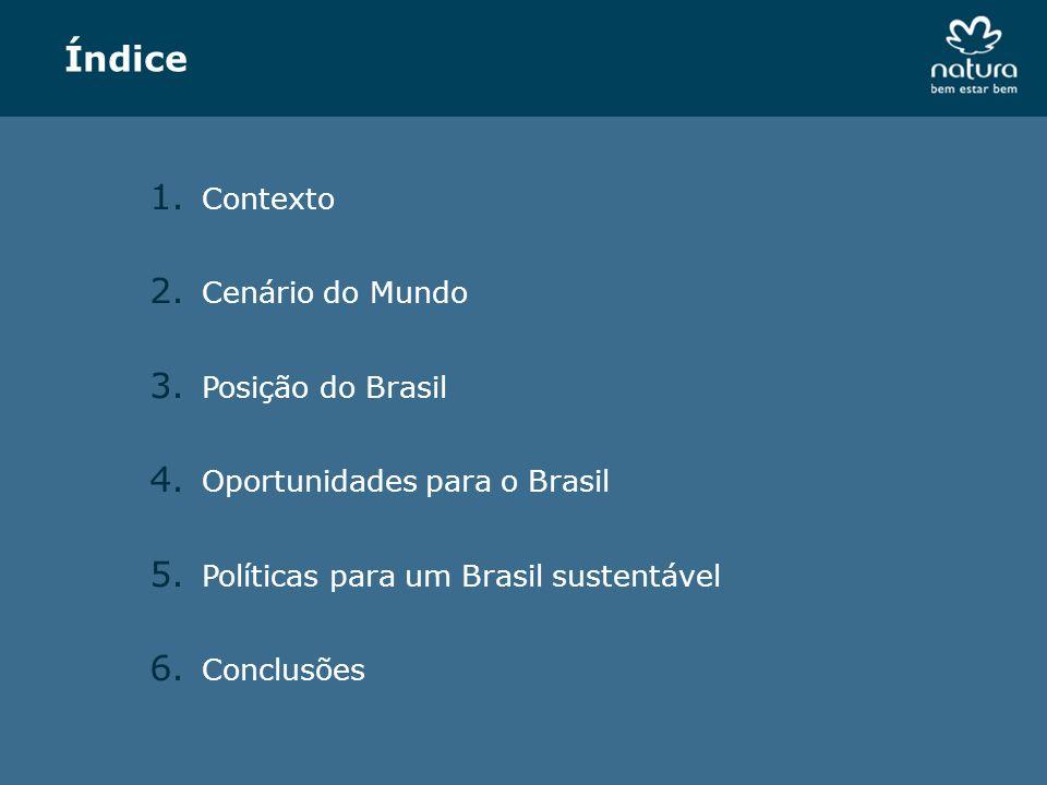 Índice 1. Contexto 2. Cenário do Mundo 3. Posição do Brasil 4. Oportunidades para o Brasil 5. Políticas para um Brasil sustentável 6. Conclusões