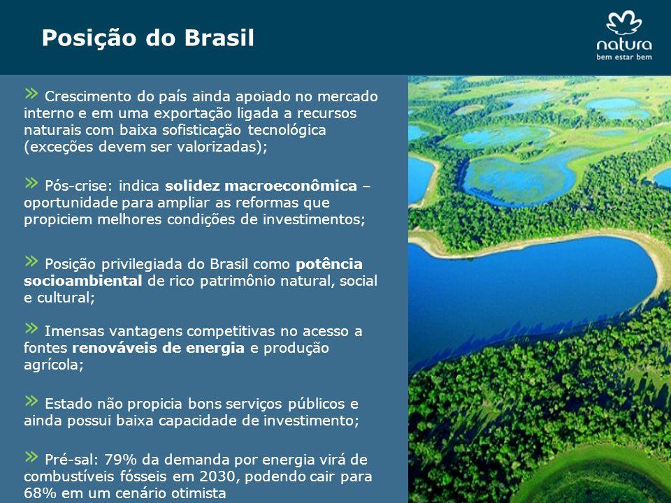 Posição do Brasil » Crescimento do país ainda apoiado no mercado interno e em uma exportação ligada a recursos naturais com baixa sofisticação tecnoló