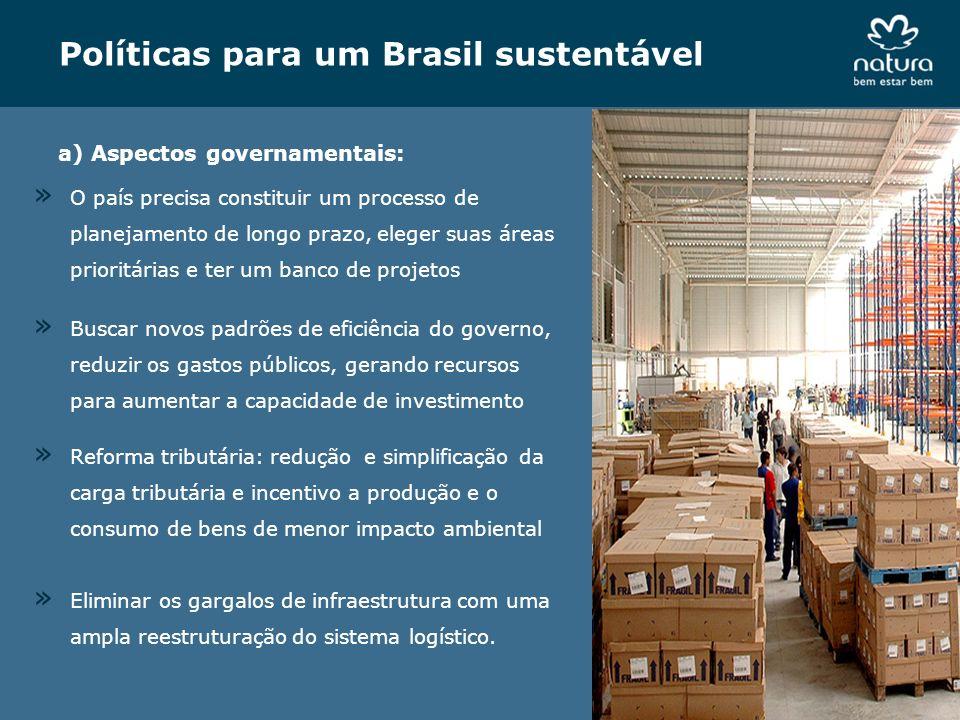 Políticas para um Brasil sustentável a) Aspectos governamentais: » Buscar novos padrões de eficiência do governo, reduzir os gastos públicos, gerando