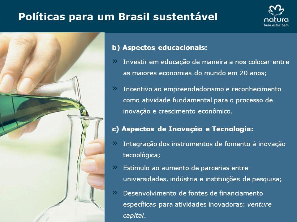 Políticas para um Brasil sustentável b) Aspectos educacionais: » Incentivo ao empreendedorismo e reconhecimento como atividade fundamental para o proc
