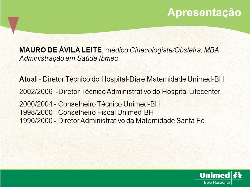 Apresentação MAURO DE ÁVILA LEITE, médico Ginecologista/Obstetra, MBA Administração em Saúde Ibmec Atual - Diretor Técnico do Hospital-Dia e Maternida