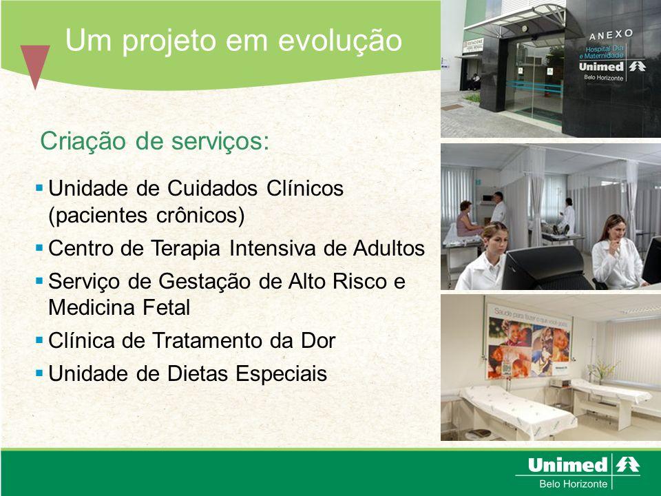 Um projeto em evolução Criação de serviços: Unidade de Cuidados Clínicos (pacientes crônicos) Centro de Terapia Intensiva de Adultos Serviço de Gestaç
