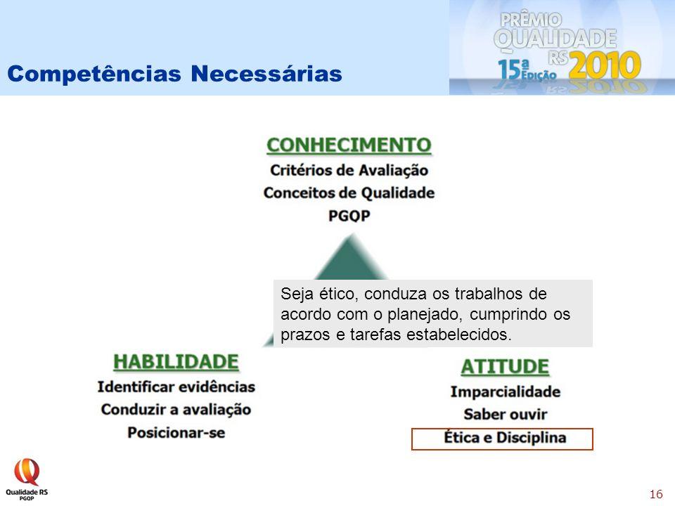 16 Competências Necessárias Seja ético, conduza os trabalhos de acordo com o planejado, cumprindo os prazos e tarefas estabelecidos.