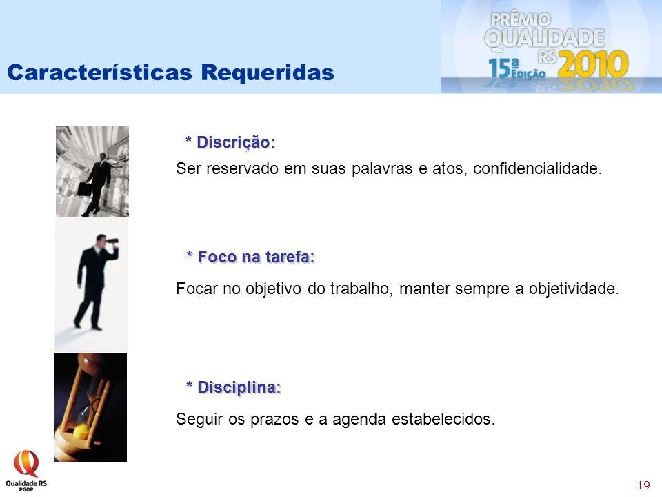 19 * Discrição: * Foco na tarefa: * Disciplina: Ser reservado em suas palavras e atos, confidencialidade.