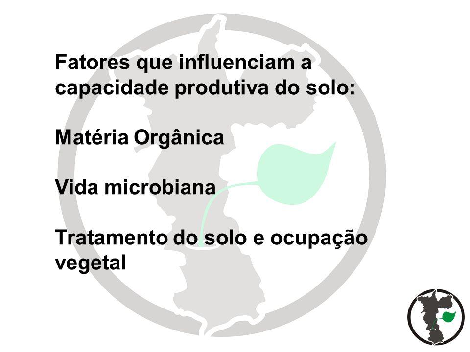 6 Fatores que influenciam a capacidade produtiva do solo: Matéria Orgânica Vida microbiana Tratamento do solo e ocupação vegetal