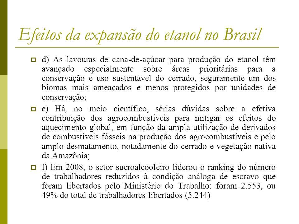 Efeitos da expansão do etanol no Brasil d) As lavouras de cana-de-açúcar para produção do etanol têm avançado especialmente sobre áreas prioritárias p