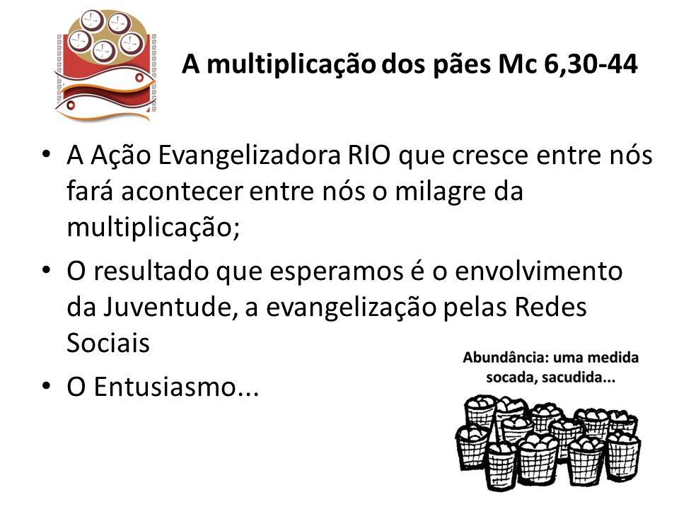 A Ação Evangelizadora RIO que cresce entre nós fará acontecer entre nós o milagre da multiplicação; O resultado que esperamos é o envolvimento da Juve