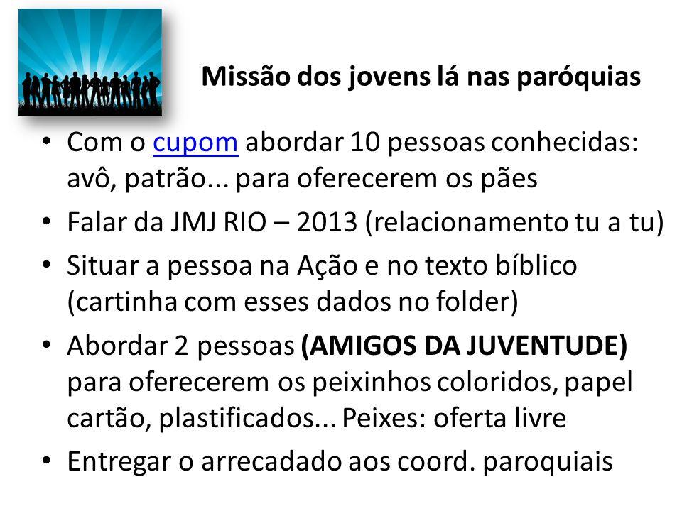 Missão dos jovens lá nas paróquias Com o cupom abordar 10 pessoas conhecidas: avô, patrão... para oferecerem os pãescupom Falar da JMJ RIO – 2013 (rel