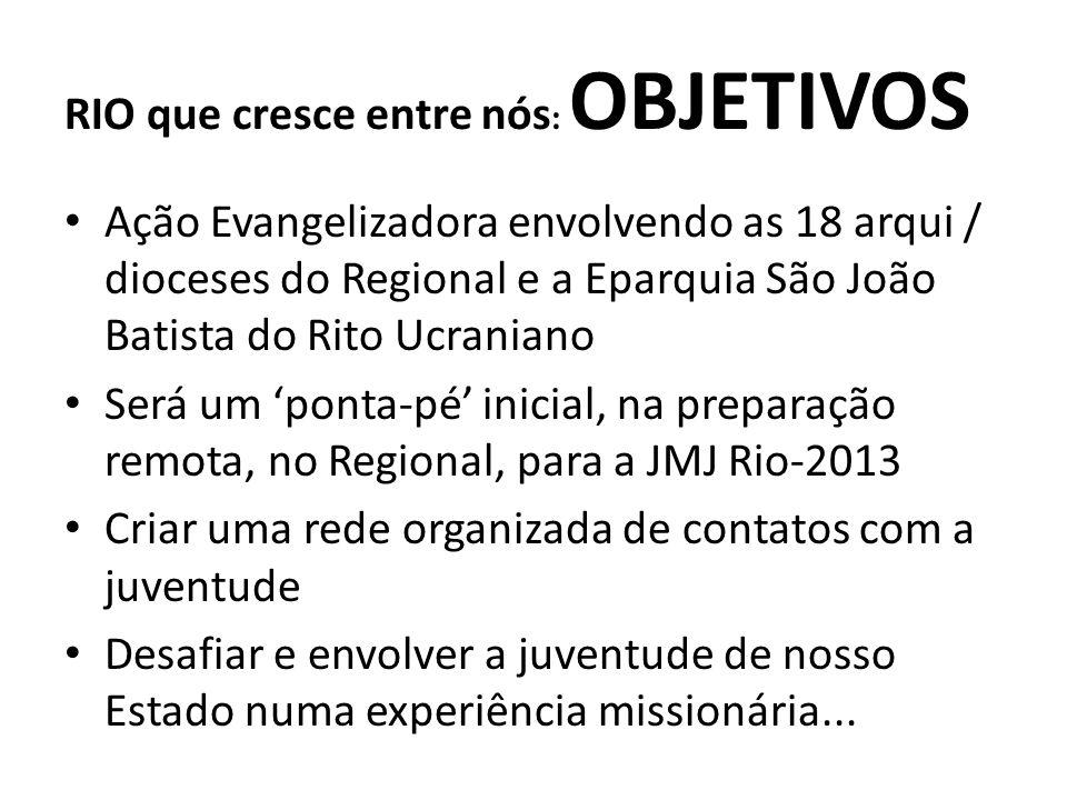 Arrecadar fundos para sustentar despesas e atividades ligadas à JMJ Rio-2013 Levar para a JMJ Rio-2013 uma multidão de jovens paranaenses: 100.000 RIO que cresce entre nós : OBJETIVOS