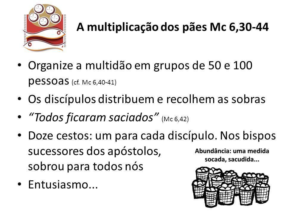 Organize a multidão em grupos de 50 e 100 pessoas (cf. Mc 6,40-41) Os discípulos distribuem e recolhem as sobras Todos ficaram saciados (Mc 6,42) Doze