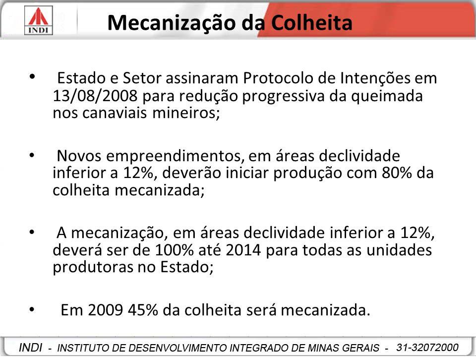 Mecanização da Colheita Estado e Setor assinaram Protocolo de Intenções em 13/08/2008 para redução progressiva da queimada nos canaviais mineiros; Nov