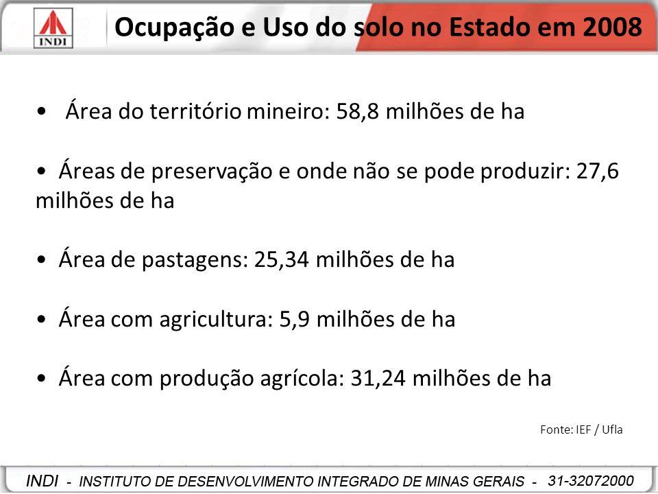 Área plantada em Minas Gerais - 2008 Milho: 1,34 milhões de hectares Soja: 870 mil hectares Cana-de-açúcar: 610 mil hectares Feijão: 421 mil hectares Arroz: 66 mil hectares Outras culturas: 268 mil hectares Fonte: IBGE