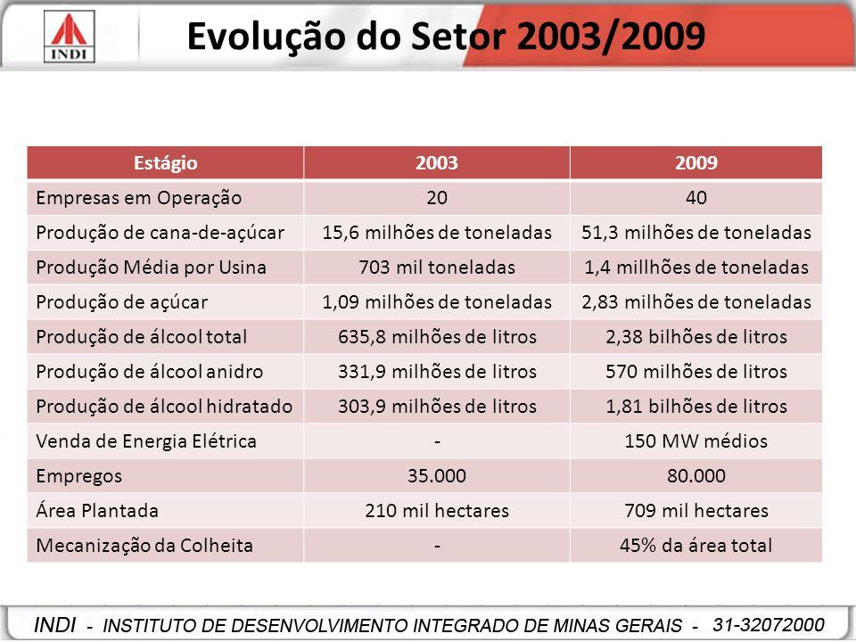 Evolução do Setor 2003/2009 Estágio20032009 Empresas em Operação2040 Produção de cana-de-açúcar15,6 milhões de toneladas51,3 milhões de toneladas Prod