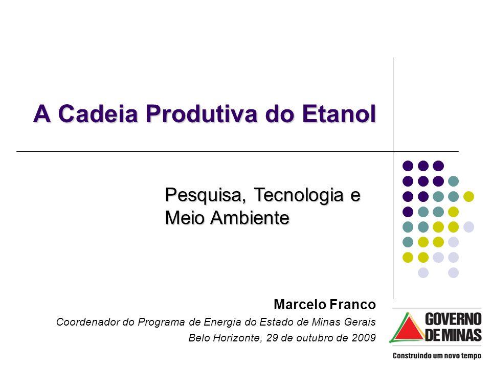 A Cadeia Produtiva do Etanol Marcelo Franco Coordenador do Programa de Energia do Estado de Minas Gerais Belo Horizonte, 29 de outubro de 2009 Pesquis
