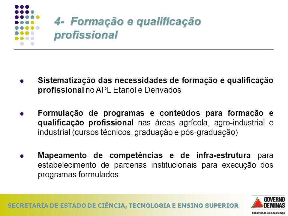 SECRETARIA DE ESTADO DE CIÊNCIA, TECNOLOGIA E ENSINO SUPERIOR Sistematização das necessidades de formação e qualificação profissional no APL Etanol e