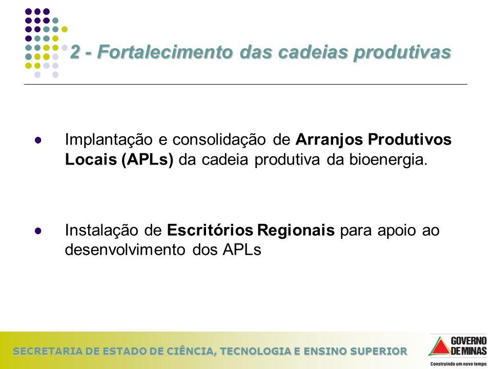 SECRETARIA DE ESTADO DE CIÊNCIA, TECNOLOGIA E ENSINO SUPERIOR Implantação e consolidação de Arranjos Produtivos Locais (APLs) da cadeia produtiva da b