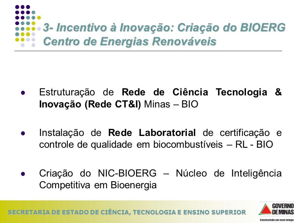 SECRETARIA DE ESTADO DE CIÊNCIA, TECNOLOGIA E ENSINO SUPERIOR Estruturação de Rede de Ciência Tecnologia & Inovação (Rede CT&I) Minas – BIO Instalação