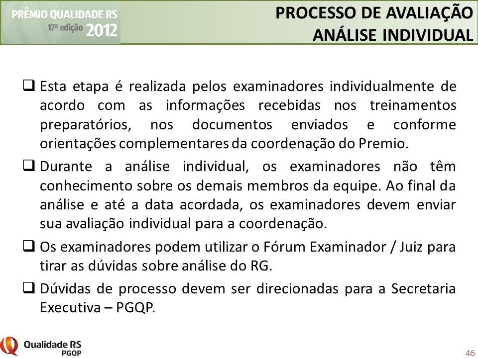 46 Esta etapa é realizada pelos examinadores individualmente de acordo com as informações recebidas nos treinamentos preparatórios, nos documentos env