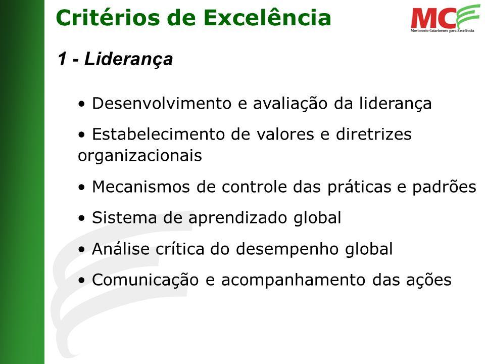 Critérios de Excelência 1 - Liderança Desenvolvimento e avaliação da liderança Estabelecimento de valores e diretrizes organizacionais Mecanismos de controle das práticas e padrões Sistema de aprendizado global Análise crítica do desempenho global Comunicação e acompanhamento das ações