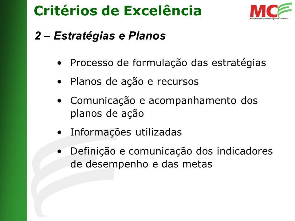 Critérios de Excelência 2 – Estratégias e Planos Processo de formulação das estratégias Planos de ação e recursos Comunicação e acompanhamento dos planos de ação Informações utilizadas Definição e comunicação dos indicadores de desempenho e das metas