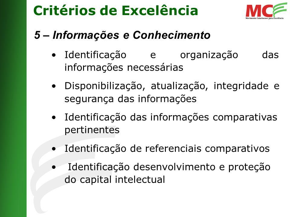 Critérios de Excelência 5 – Informações e Conhecimento Identificação e organização das informações necessárias Disponibilização, atualização, integridade e segurança das informações Identificação das informações comparativas pertinentes Identificação de referenciais comparativos Identificação desenvolvimento e proteção do capital intelectual