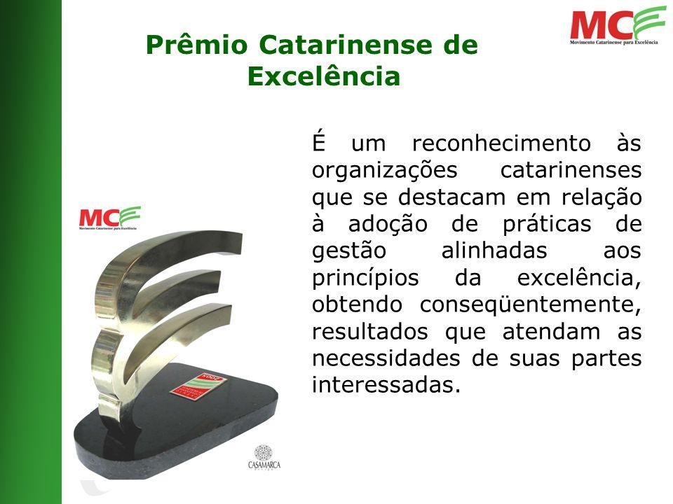 Prêmio Catarinense de Excelência É um reconhecimento às organizações catarinenses que se destacam em relação à adoção de práticas de gestão alinhadas aos princípios da excelência, obtendo conseqüentemente, resultados que atendam as necessidades de suas partes interessadas.