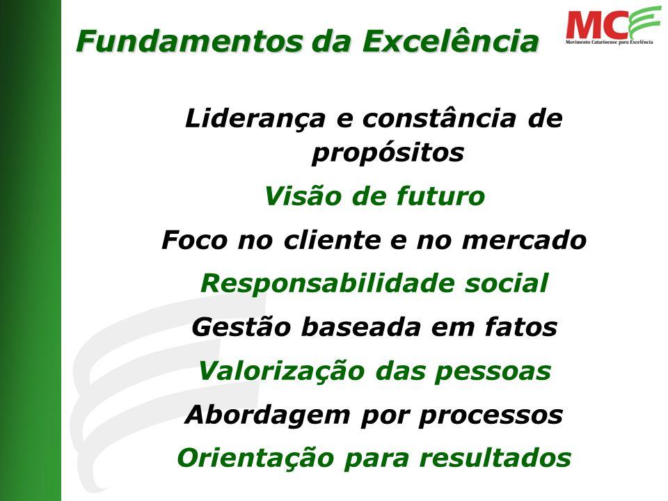 Liderança e constância de propósitos Visão de futuro Foco no cliente e no mercado Responsabilidade social Gestão baseada em fatos Valorização das pessoas Abordagem por processos Orientação para resultados Fundamentos da Excelência