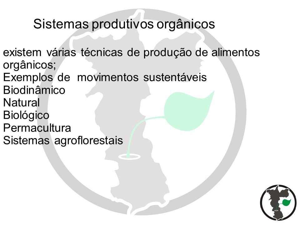 existem várias técnicas de produção de alimentos orgânicos; Exemplos de movimentos sustentáveis Biodinâmico Natural Biológico Permacultura Sistemas ag
