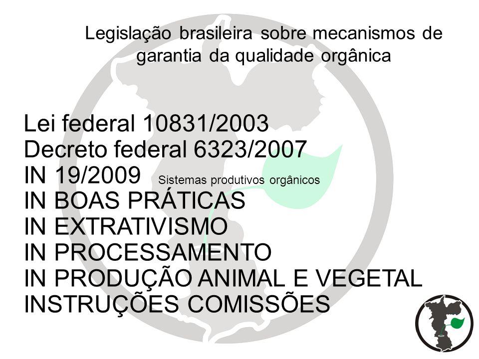 Lei federal 10831/2003 Decreto federal 6323/2007 IN 19/2009 IN BOAS PRÁTICAS IN EXTRATIVISMO IN PROCESSAMENTO IN PRODUÇÃO ANIMAL E VEGETAL INSTRUÇÕES