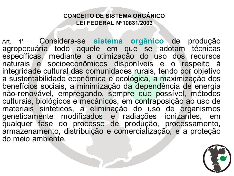 Art. 1° - Considera-se sistema orgânico de produção agropecuária todo aquele em que se adotam técnicas específicas, mediante a otimização do uso dos r