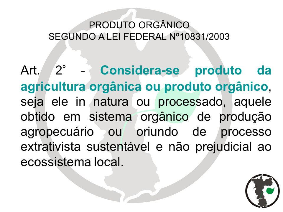 Art. 2° - Considera-se produto da agricultura orgânica ou produto orgânico, seja ele in natura ou processado, aquele obtido em sistema orgânico de pro