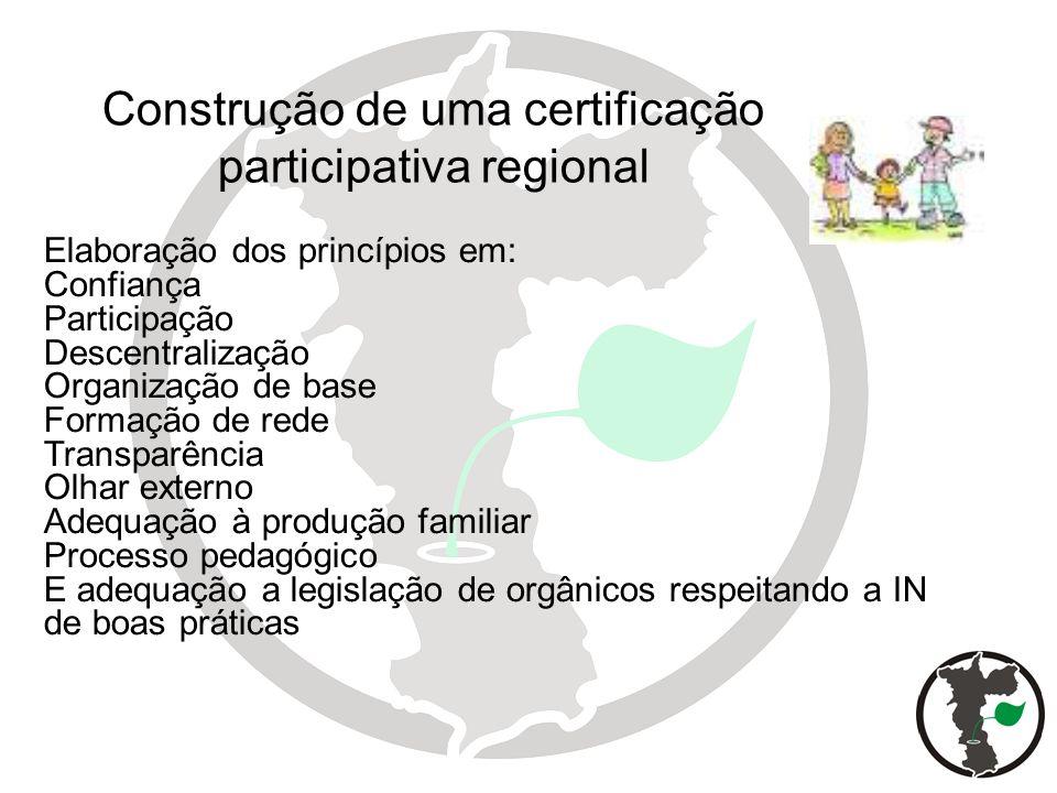 Elaboração dos princípios em: Confiança Participação Descentralização Organização de base Formação de rede Transparência Olhar externo Adequação à pro