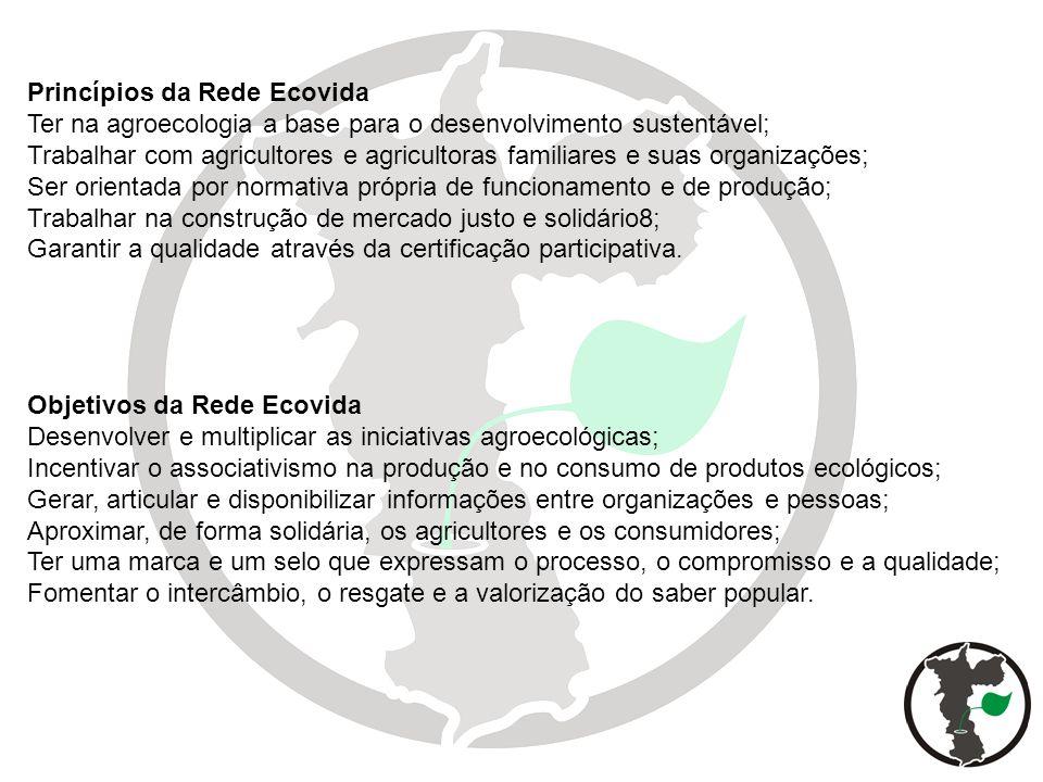 Princípios da Rede Ecovida Ter na agroecologia a base para o desenvolvimento sustentável; Trabalhar com agricultores e agricultoras familiares e suas