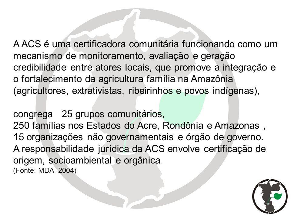 A ACS é uma certificadora comunitária funcionando como um mecanismo de monitoramento, avaliação e geração credibilidade entre atores locais, que promo