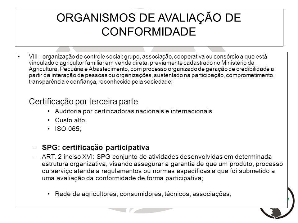 ORGANISMOS DE AVALIAÇÃO DE CONFORMIDADE VIII - organização de controle social: grupo, associação, cooperativa ou consórcio a que está vinculado o agri
