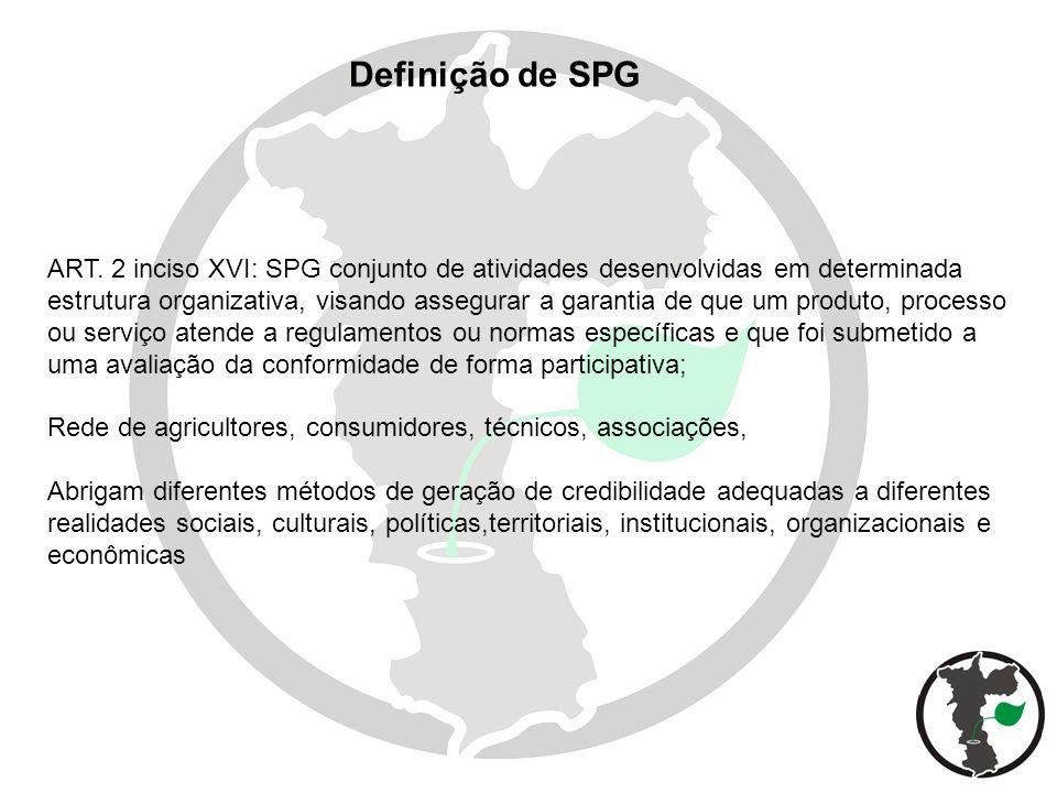 ART. 2 inciso XVI: SPG conjunto de atividades desenvolvidas em determinada estrutura organizativa, visando assegurar a garantia de que um produto, pro