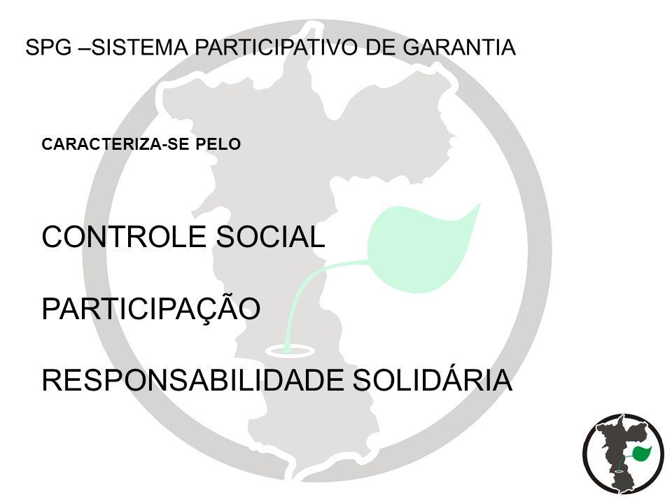 SPG –SISTEMA PARTICIPATIVO DE GARANTIA CONTROLE SOCIAL PARTICIPAÇÃO RESPONSABILIDADE SOLIDÁRIA CARACTERIZA-SE PELO