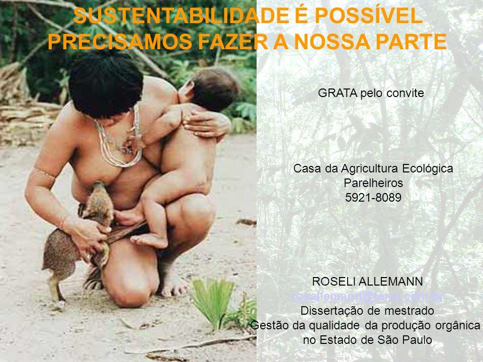 SUSTENTABILIDADE É POSSÍVEL PRECISAMOS FAZER A NOSSA PARTE GRATA pelo convite ROSELI ALLEMANN rosallemann@terra.com.br Dissertação de mestrado Gestão