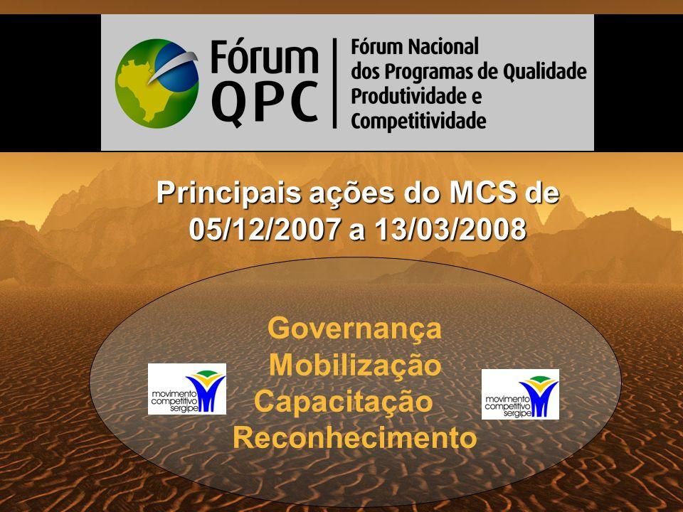 Governança Mobilização Capacitação Reconhecimento Principais ações do MCS de 05/12/2007 a 13/03/2008