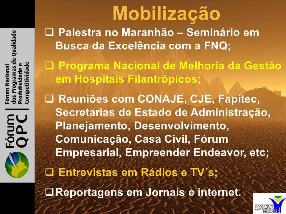 Mobilização Palestra no Maranhão – Seminário em Busca da Excelência com a FNQ; Programa Nacional de Melhoria da Gestão em Hospitais Filantrópicos; Reuniões com CONAJE, CJE, Fapitec, Secretarias de Estado de Administração, Planejamento, Desenvolvimento, Comunicação, Casa Civil, Fórum Empresarial, Empreender Endeavor, etc; Entrevistas em Rádios e TV´s; Reportagens em Jornais e internet.