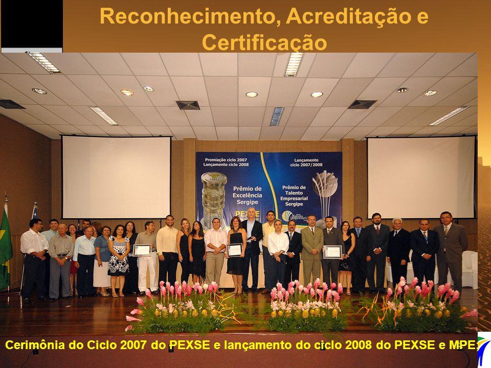 Reconhecimento, Acreditação e Certificação Foto da cerimônia do PEXSE 2007 Cerimônia do Ciclo 2007 do PEXSE e lançamento do ciclo 2008 do PEXSE e MPE;