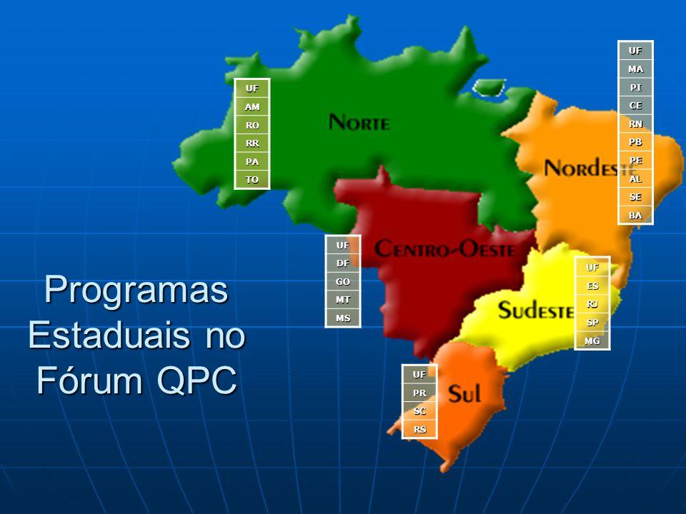 UFMA PI CE RN PB PE AL SE BA UFDF GO MT MS UFES RJ SP MG UFPR SC RS Programas Estaduais no Fórum QPC UFAM RO RR PA TO