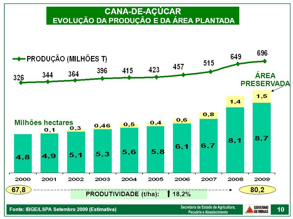 CANA-DE-AÇÚCAR EVOLUÇÃO DA PRODUÇÃO E DA ÁREA PLANTADA Fonte: IBGE/LSPA Setembro 2009 (Estimativa) 67,8 80,2 PRODUTIVIDADE (t/ha): 18,2% Milhões hecta