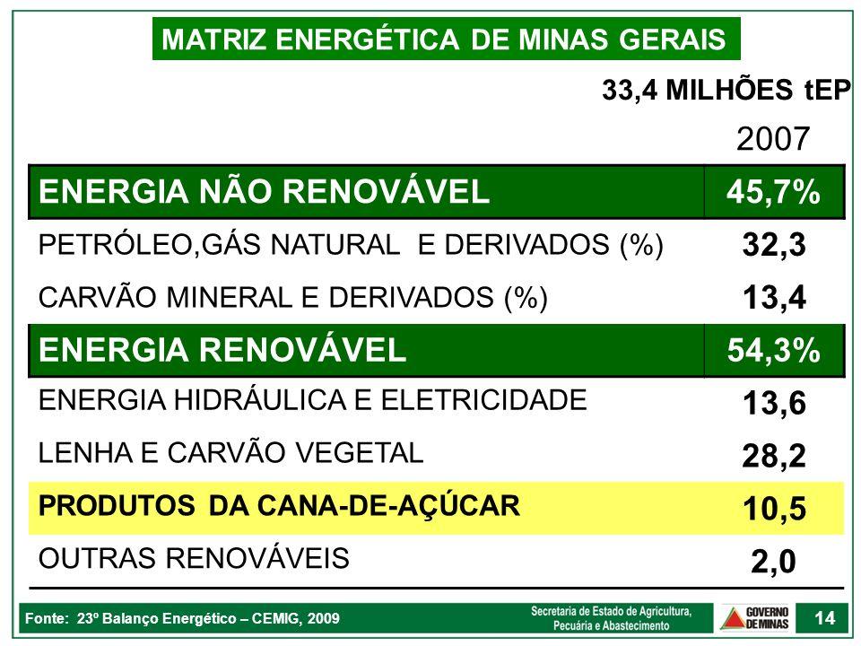 MATRIZ ENERGÉTICA DE MINAS GERAIS Fonte: 23º Balanço Energético – CEMIG, 2009 2007 ENERGIA NÃO RENOVÁVEL45,7% PETRÓLEO,GÁS NATURAL E DERIVADOS (%) 32,